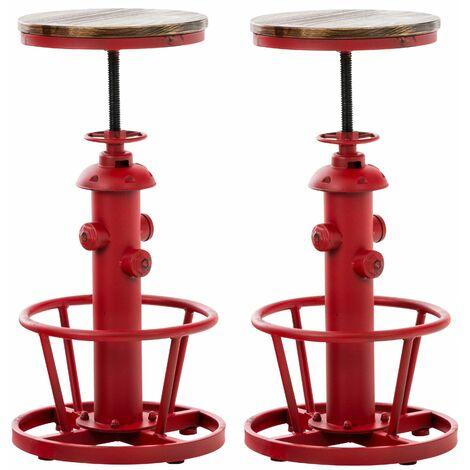 Lot de 2 tabourets de bar en métal rouge style industriel réglable repose-pieds