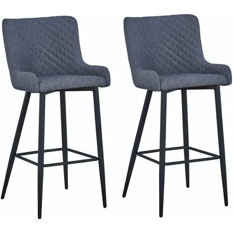 Lot de 2 tabourets de bar en tissu gris PRETORIA chaises hautes pour cuisine comptoir, fauteuils rembourrés avec 4 pieds métal noir