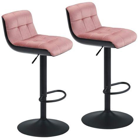 Lot de 2 tabourets de bar ergonomique en tissu aspect velours rose avec dossier - Rose