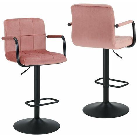Lot de 2 tabourets de bar ergonomique en tissu velours rose hauteur réglable repose-pieds - Rose