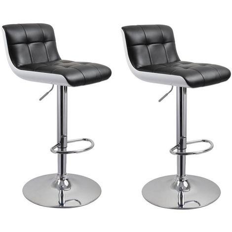 Lot de 2 tabourets de bar ergonomique noir et blanc design - noir