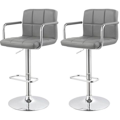 Lot de 2 tabourets de bar ergonomique simili-cuir hauteur réglable gris
