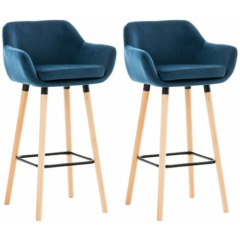 Lot de 2 tabourets de bar Grant en Velours