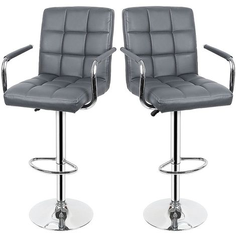 Lot de 2 Tabourets de bar haut chaise de bar PU chrome hauteur réglable grande base Φ38cm gris