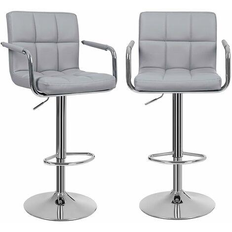 Lot de 2 Tabourets de bar haut Chaise de bar PU chrome hauteur réglable grande base 41cm charge maximale 200kg