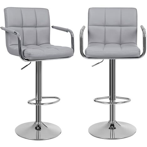 Tabouret De Bar Reglable En Hauteur.Lot De 2 Tabourets De Bar Haut Chaise De Bar Pu Chrome Hauteur Reglable Grande Base F41cm Ljb93g