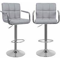 Lot de 2 Tabourets de bar haut Chaise de bar PU chrome hauteur réglable grande base Φ41cm LJB93G