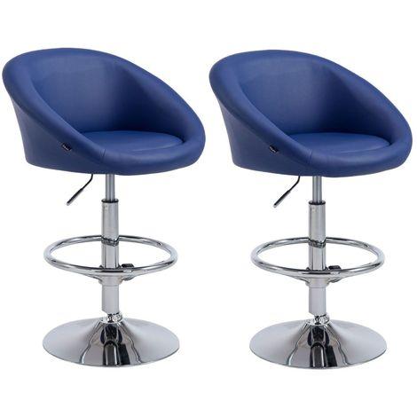 Lot de 2 tabourets de bar hauteur réglable avec repose-pieds en simili-cuir bleu