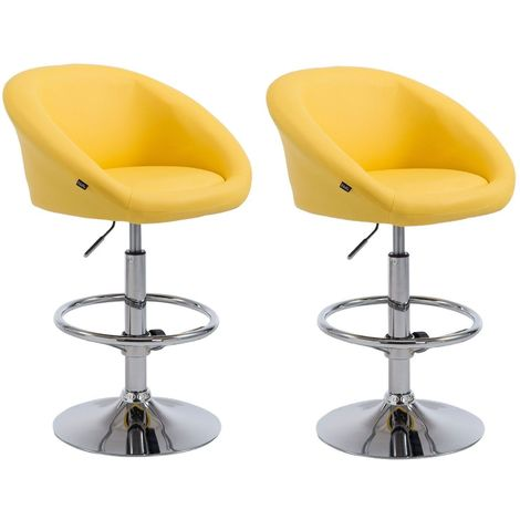 Lot de 2 tabourets de bar hauteur réglable avec repose-pieds en simili-cuir jaune