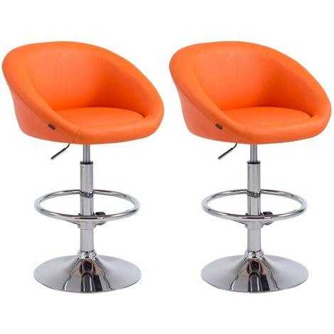 Lot de 2 tabourets de bar hauteur réglable avec repose-pieds en simili-cuir orange
