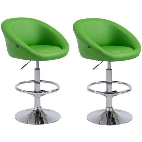Lot de 2 tabourets de bar hauteur réglable avec repose-pieds en simili-cuir vert