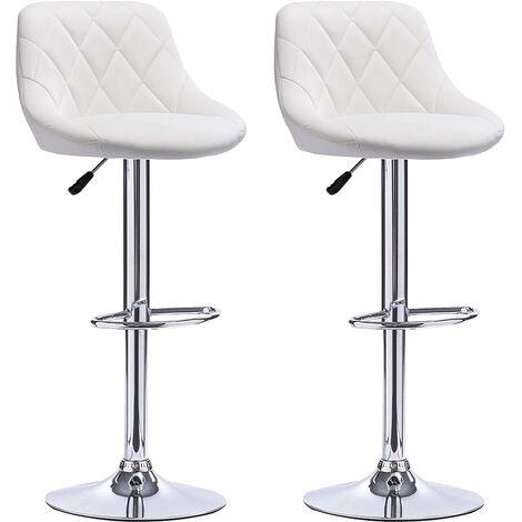 OOBEST® Lot de 2 tabourets de bar, hauteur réglable et rotation à 360° (85-105cm), Blanc - Blanc