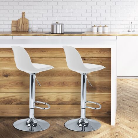 Lot de 2 tabourets de bar KARL design blanc