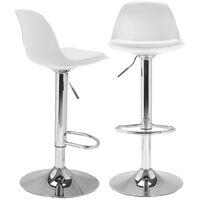 Lot de 2 tabourets de bar KARL design blanc