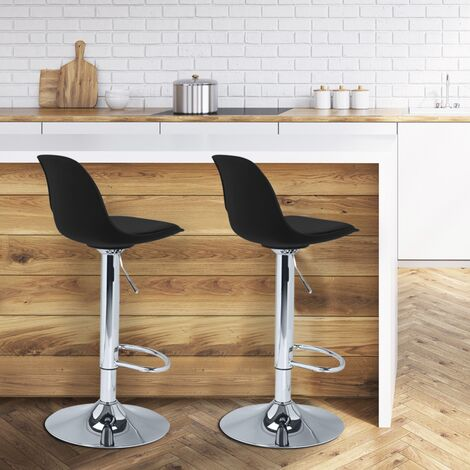 Lot de 2 tabourets de bar KARL design noir