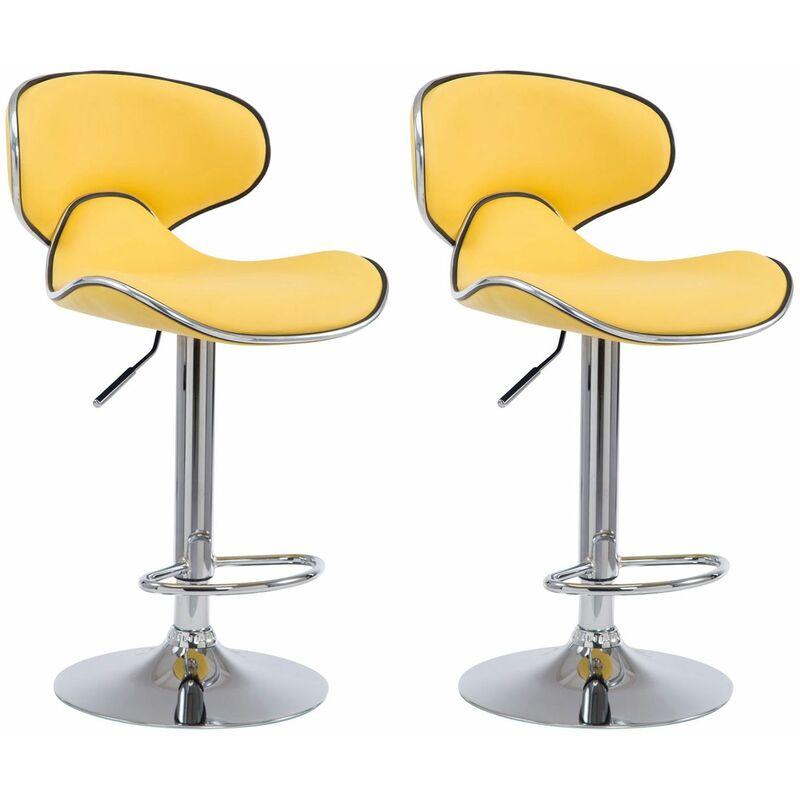 Tabouret de bar LAZIO chaise similicuir trompette chromé cuisine repose-pieds