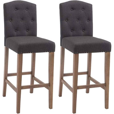 Lot de 2 tabourets de bar Louise Tissu