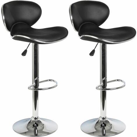 Lot de 2 tabourets de bar LOUNGE chaise haute pour cuisine/comptoir, réglable en hauteur et pivotante, revêtement synthétique noir