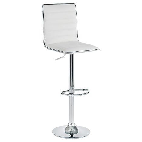 Lot de 2 tabourets de bar ROCA chaise haute droite pour cuisine/comptoir, réglable en hauteur et pivotante, en synthétique blanc