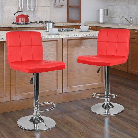 Lot de 2 Tabourets de Bar (Rouge) Simple Style Européen Mode Réglable en Hauteur Réglable 92-112cm
