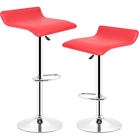 Lot de 2 tabourets de bar (Rouge)Pivotant et réglable en Hauteur 60 cm - 80 cm