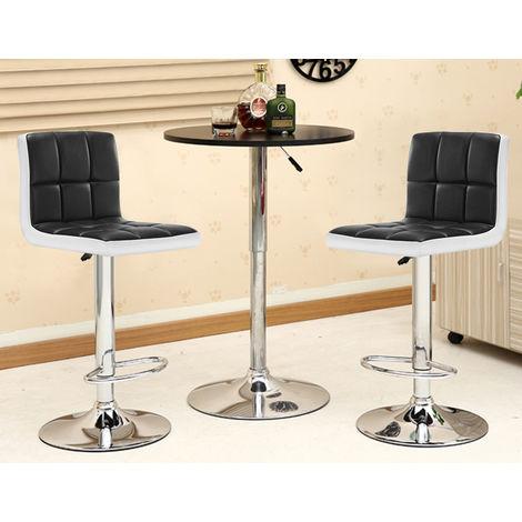 Lot de 2 tabourets de bar - Simili noir et blanc - Style contemporain - L 45 x P 49,5 cm
