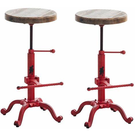 Lot de 2 tabourets de bar style industriel en métal avec repose-pieds rouge vieilli - rougeed