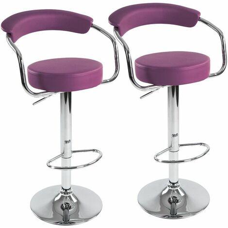 Lot de 2 tabourets de bar violet design moderne