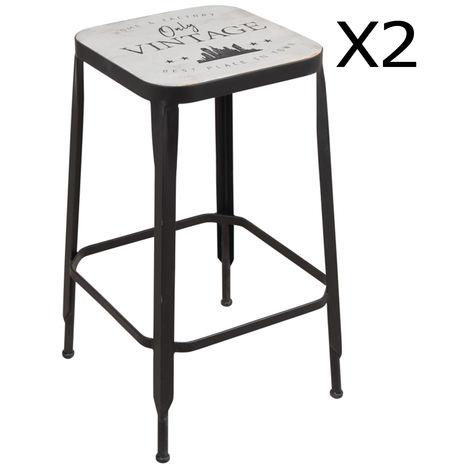 Lot de 2 Tabourets haut assise en bois / métal - Dim: 36 x 36 x 59,5 cm -PEGANE-