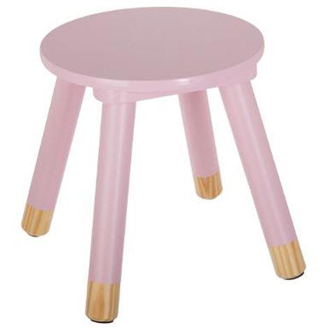 lot de 2 tabourets rose pour enfant en bois - Dim : L24x l26,5 x H24 cm