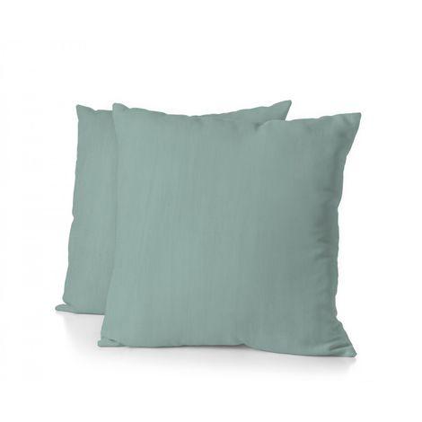 Lot de 2 taies d'oreiller - Format carré 65x65 cm - 100% Lin lavé 165g Fibres épaisses - Bleu Céladon