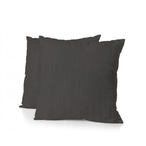 Lot de 2 taies d'oreiller - Format carré 65x65 cm - 100% Lin lavé 165g Fibres épaisses - Gris Anthracite