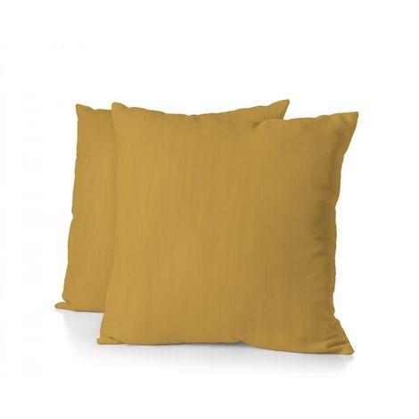 Lot de 2 taies d'oreiller - Format carré 65x65 cm - 100% Lin lavé 165g Fibres épaisses - Jaune Curry