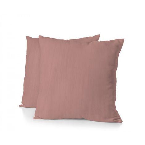 Lot de 2 taies d'oreiller - Format carré 65x65 cm - 100% Lin lavé 165g Fibres épaisses - Rose Poudré