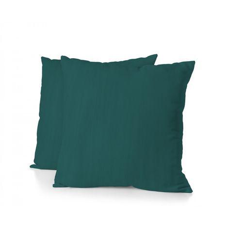 Lot de 2 taies d'oreiller - Format carré 65x65 cm - 100% Lin lavé 165g Fibres épaisses - Vert Sapin