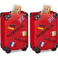 Lot de 2 Tirelires Valise, Boîte épargnes Vacances, Caisse voyage, HxLxP : 14,5 x 9,5 x 5 cm, Rouge
