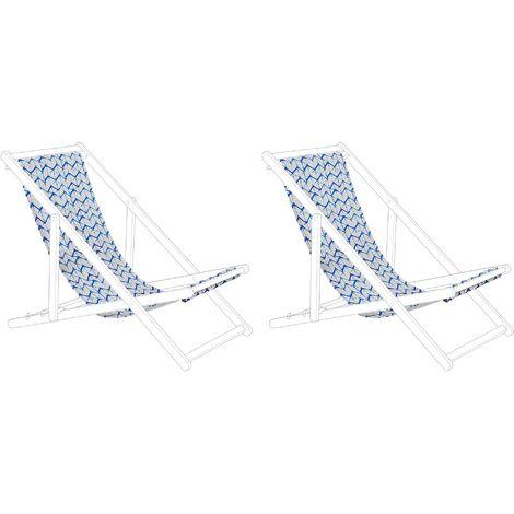 Lot de 2 toiles pour transat ANZIO / AVELLINO motif zigzag bleu / blanc