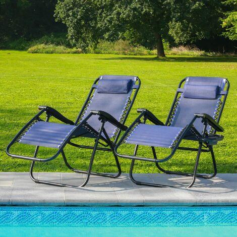 Lot de 2 Transat Jardin Pliable Bleu - 2x Bain de Soleil avec coussin rembourré et porte-gobelet - Lot de 2 Chaise Longue 178 x 110 x 67, Pieds en caoutchouc anti-dérapants et Structure en Acier - Bleu