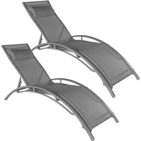 Lot de 2 transats avec coussin de tête - lot de 2 chaises longues, bains de soleil, transats jardin