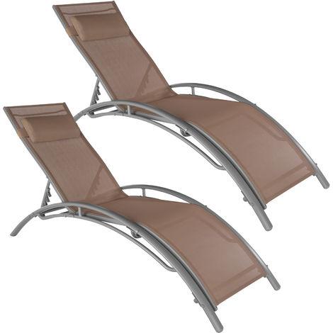 Lot de 2 transats avec coussin de tête - transat piscine, transat jardin, chaise longue