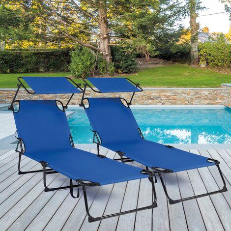 Lot de 2 transats bains de soleil pliants bleus et auvent réglable