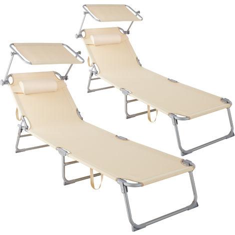"""main image of """"Lot de 2 transats CHLOE - lot de 2 chaises longues, bains de soleil, transats jardin"""""""
