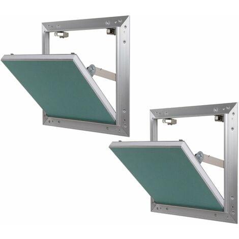 Lot de 2 trappes de visite alu hydro Semin - 300 mm x 300 mm x 12.5 mm - ouverture poussez/lâchez - pièces humides - accès aux gaines techniques et conduites - murs et plafonds