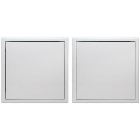 """main image of """"Lot de 2 trappes de visite métallique laquée blanche Semin - 400 mm x 400 mm - ouverture poussez/lâchez - accès aux gaines techniques et conduites pour murs et plafonds"""""""