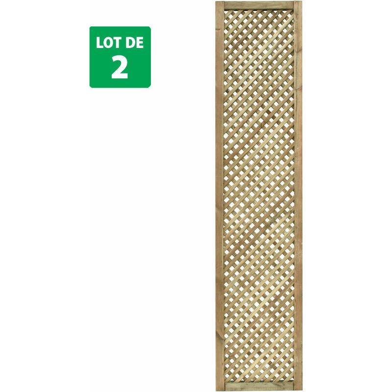 Forest-style - Lot de 2 treillis en bois 180 cm x 40 cm - CLEMATITE