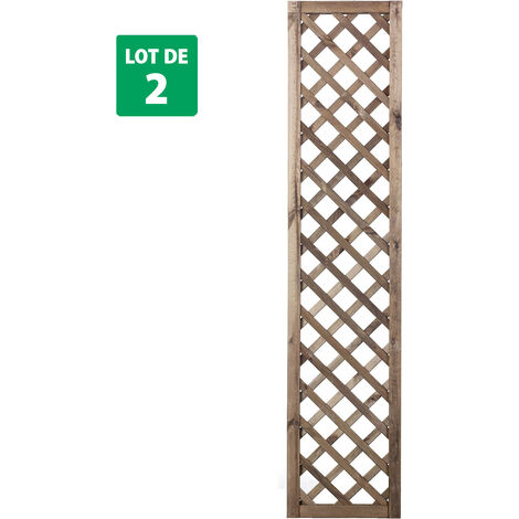 Lot de 2 treillis marrons 180 cm x 40 cm - PREMICES