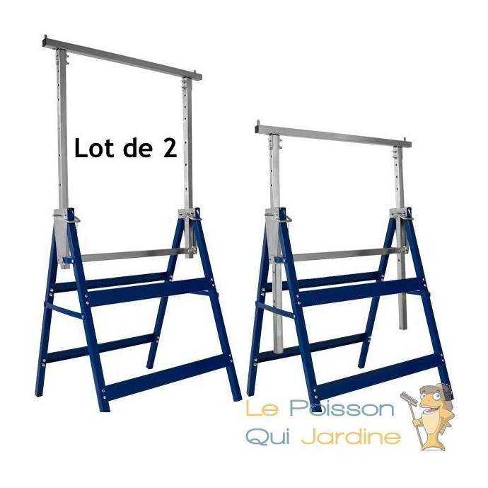 Lot De 2 Tréteaux D échafaudage Réglable En Hauteur Et Pliables
