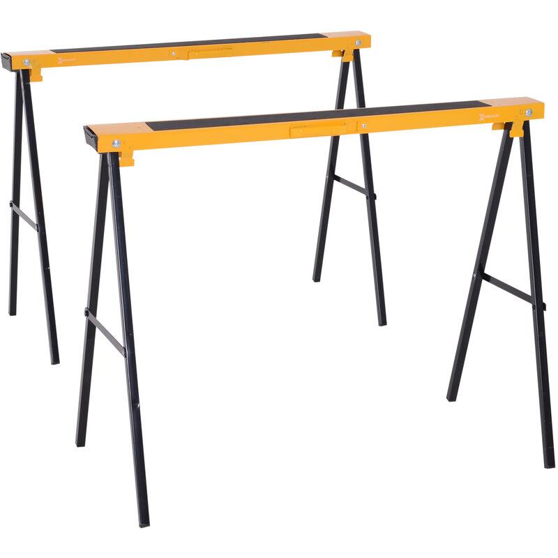 Homcom - Lot de 2 tréteaux pliables compactes poignée transport dim. 100L x 50l x 76H cm surface antidérapante métal noir jaune - Noir