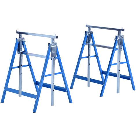 Lot de 2 tréteaux pliables télescopiques hauteur réglable 80-130 cm bleu