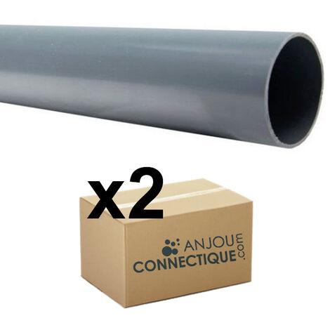 Lot de 2 Tubes PVC évacuation NF-Me prémanchonné - diamètre 125 mm - 4 mètres